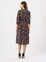 BLACK ORANGE FLORAL MIDI BUTTON DRESS BNWT SIZES UK 10, 12, 14